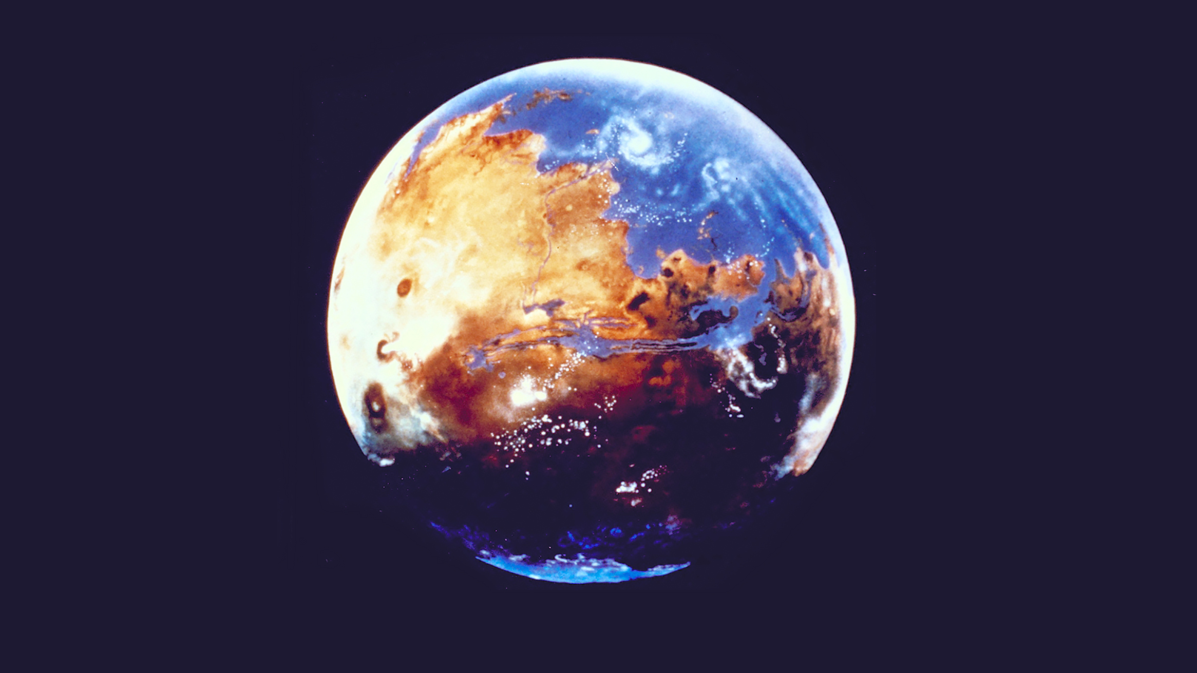 illustrator's concept of Mars in future with water