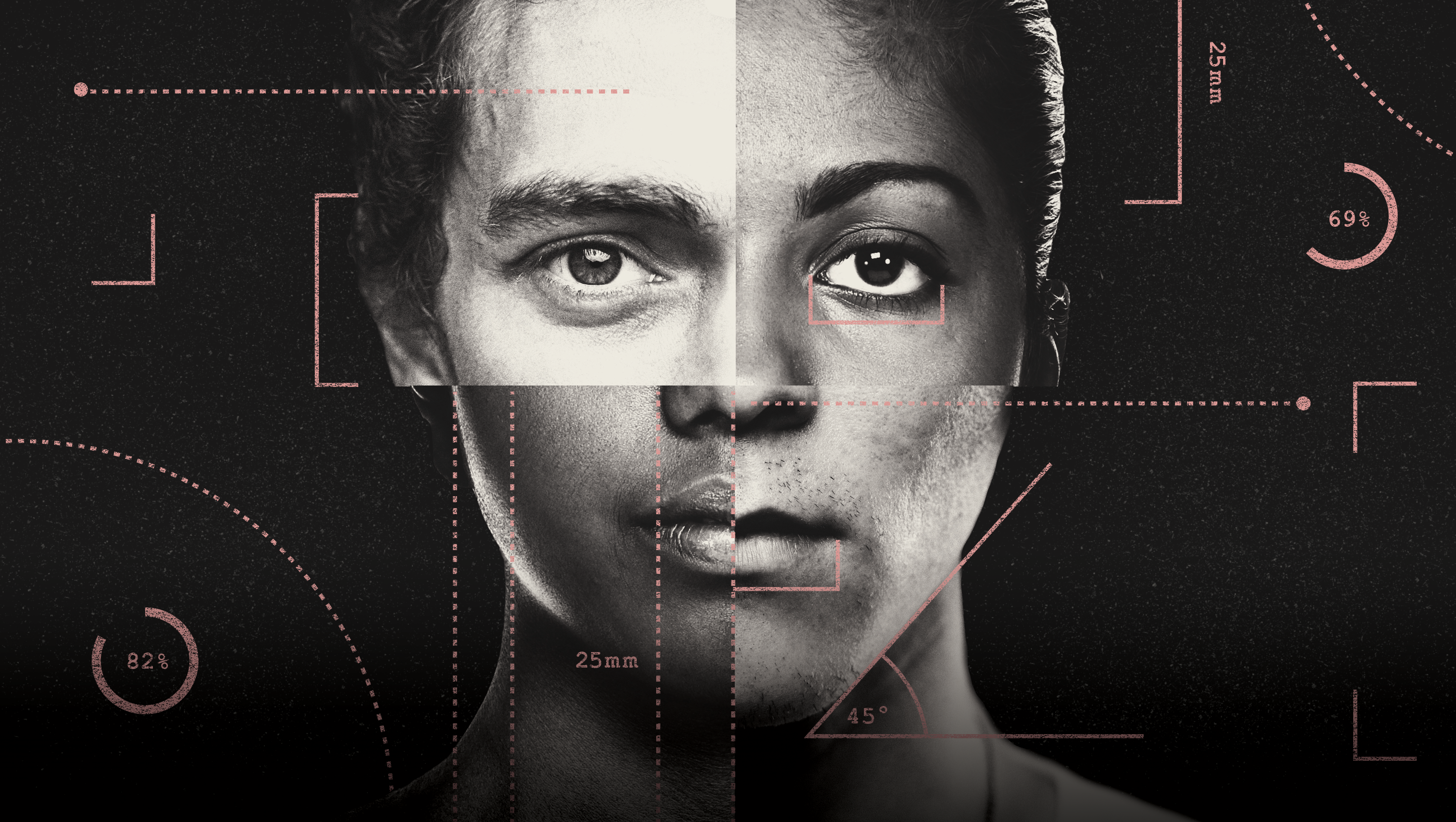 conceptural illustration of 4 quadrants showing different people's faces with details called out for scoring