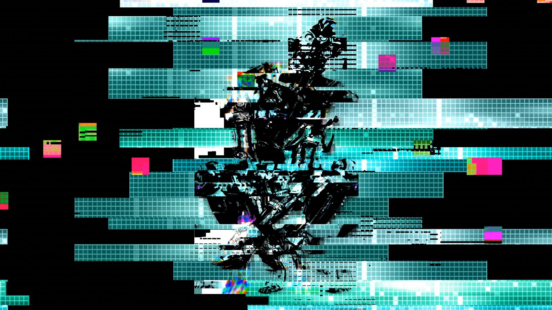 Still from a glitchy colorful animation with a robotic humanoid in the center (uncredited artist)