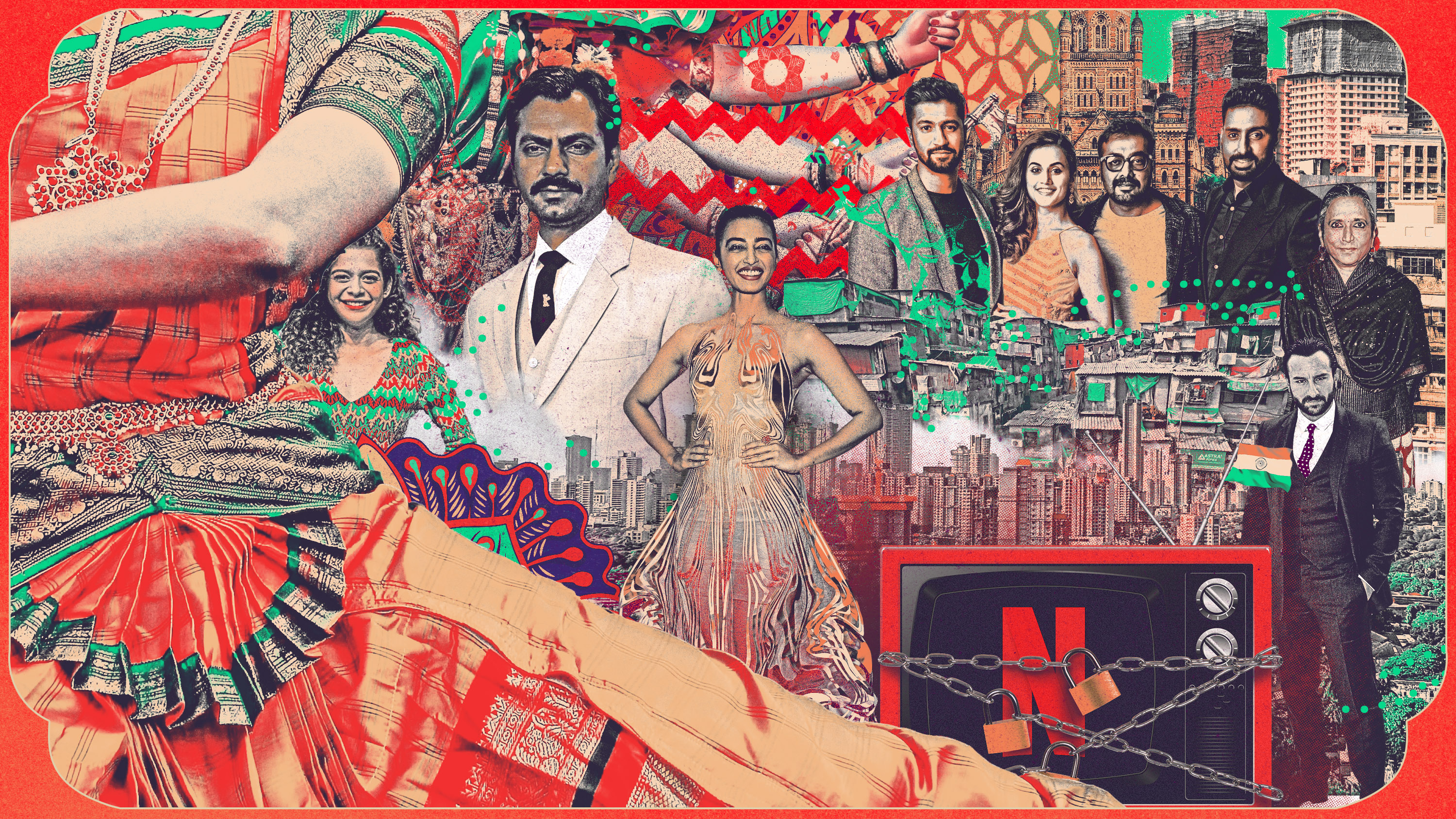 conceptual collage illustration depicting directors and actors from Netflix India television series' and movies