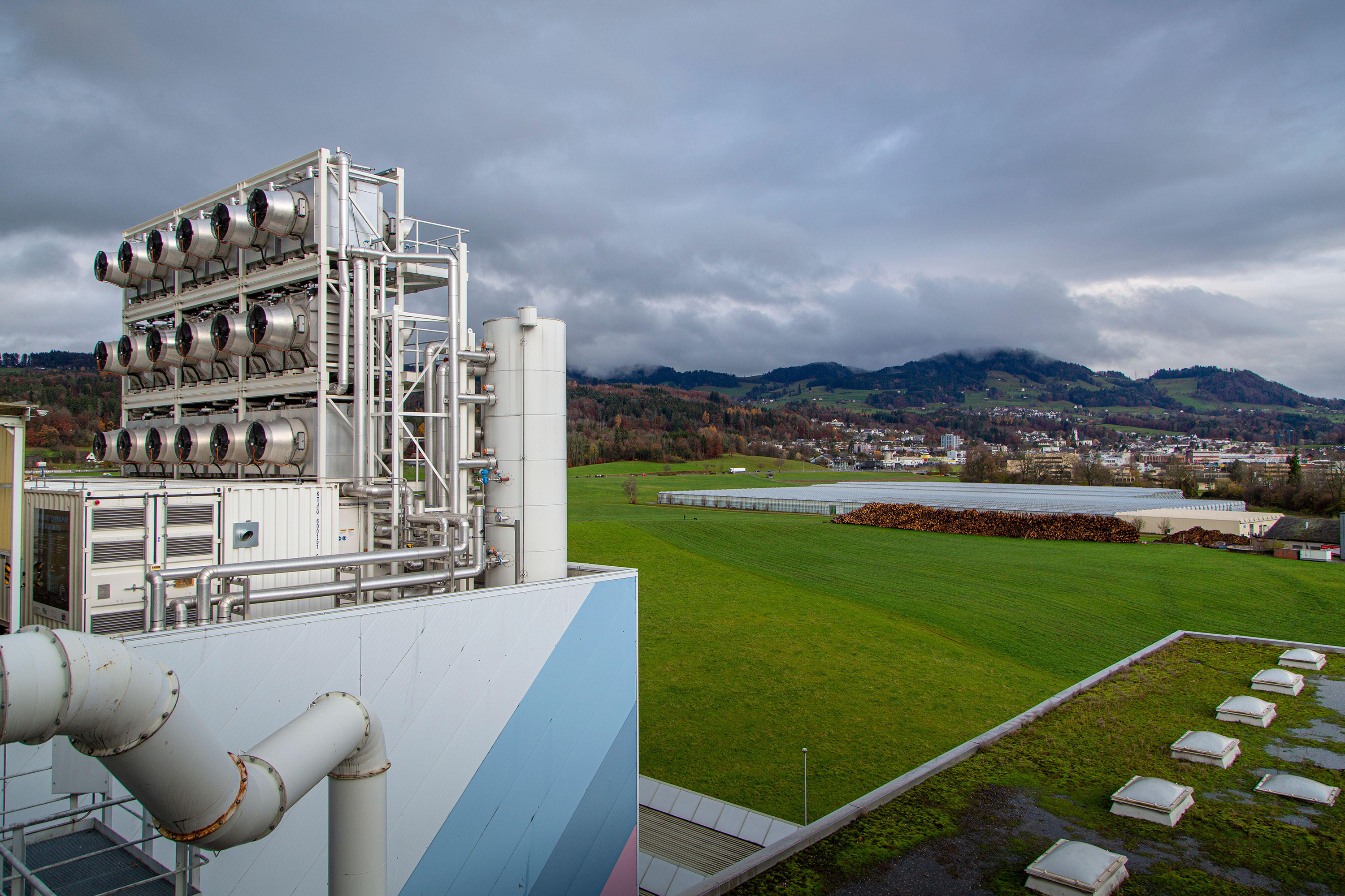 Climeworks are running 30 DAC - Direct Air Capture - fans on the roof of this garbage incinerator in Hinwil