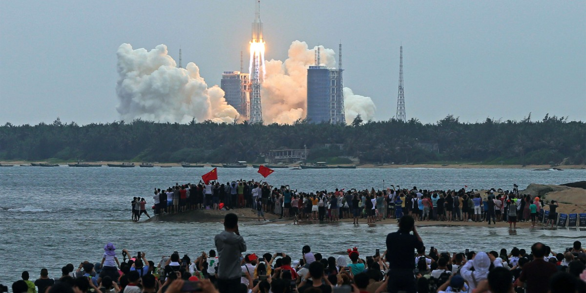 The Chinese rocket has fallen safely into the ocean