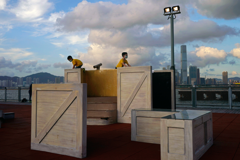 children play in park Hong Kong