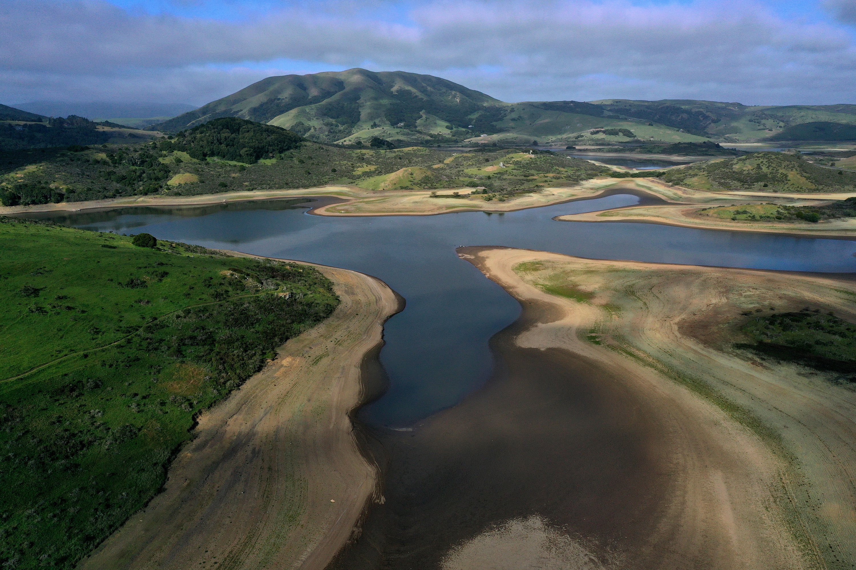 low water levels are visible at Nicasio Reservoir