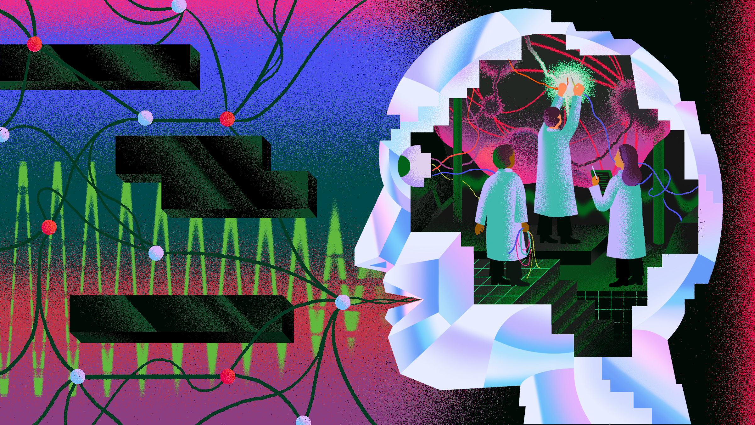 conceptual illustration or a brain with 3 scientists inside it