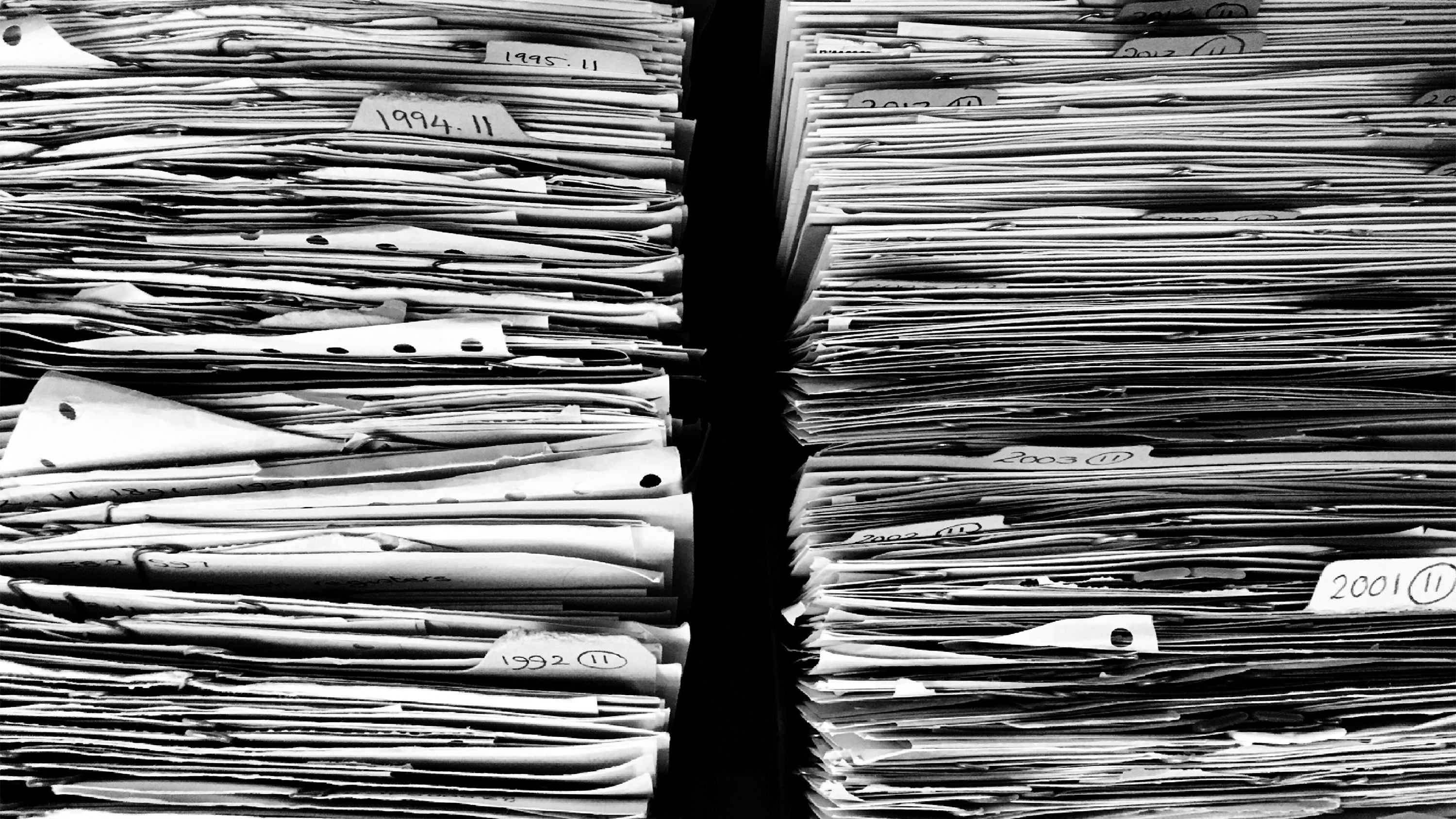 stacks of paper records