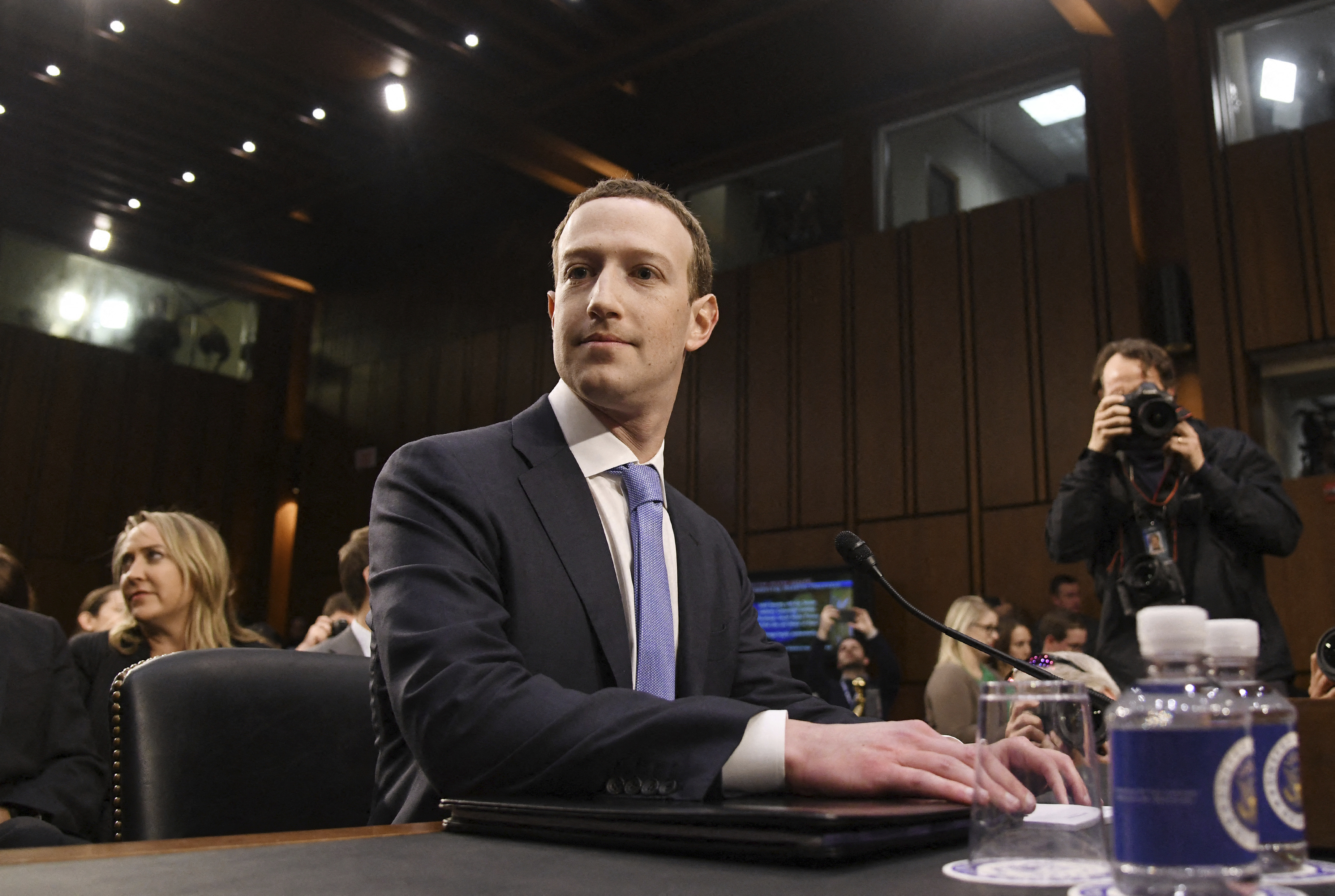 File photo dated April 10, 2018 of Facebook CEO Mark Zuckerberg testifies before the Senate judiciary and commerce committees on Capitol Hill over social media data breach, in Washington, DC, USA. The Federal Trade Commission sued to break up Facebook on Wednesday, asking a federal court to force the sell-off of assets such as Instagram and WhatsApp as independent businesses.