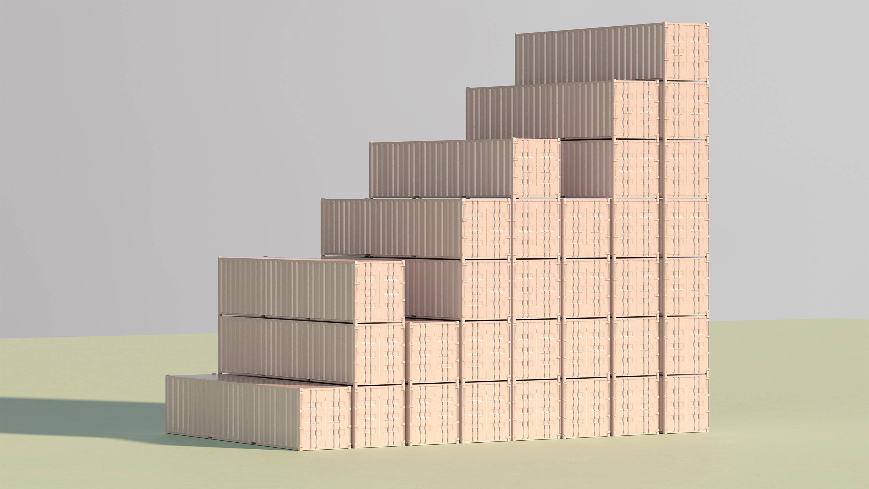 shipping containers for a bar graph
