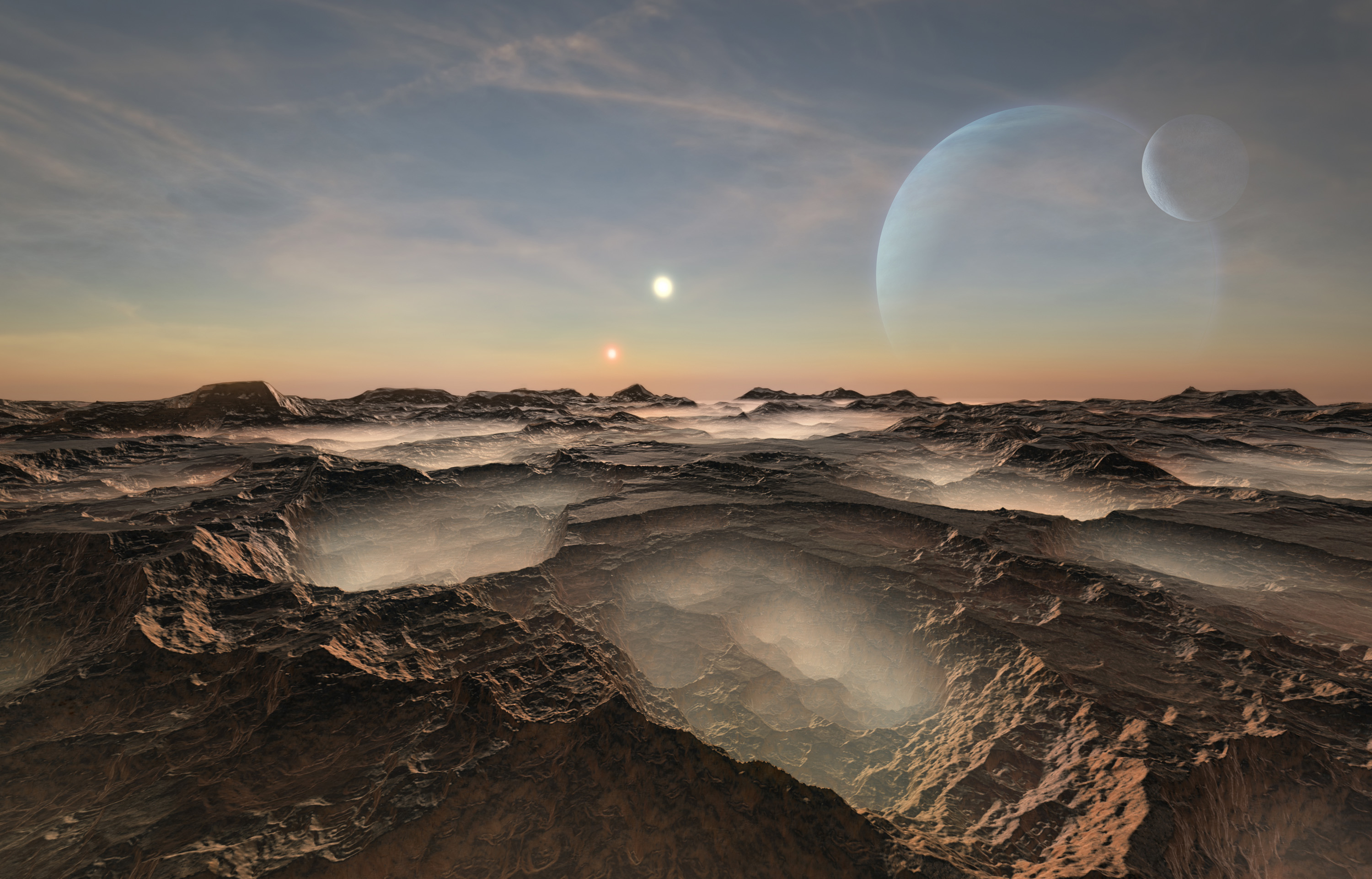 View from a distant planet with two suns