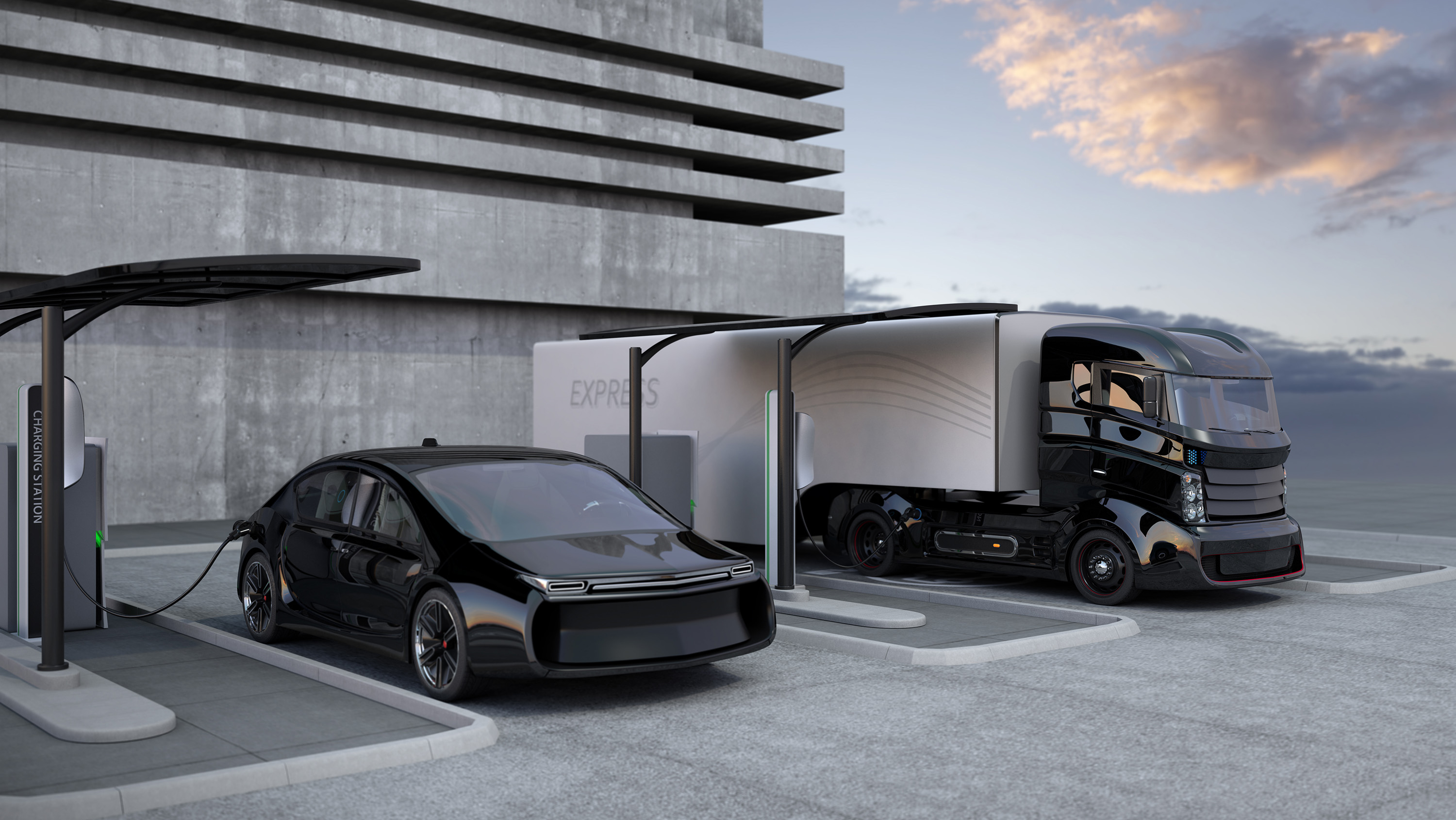 3D render of electric truck and white electric car in charging station.