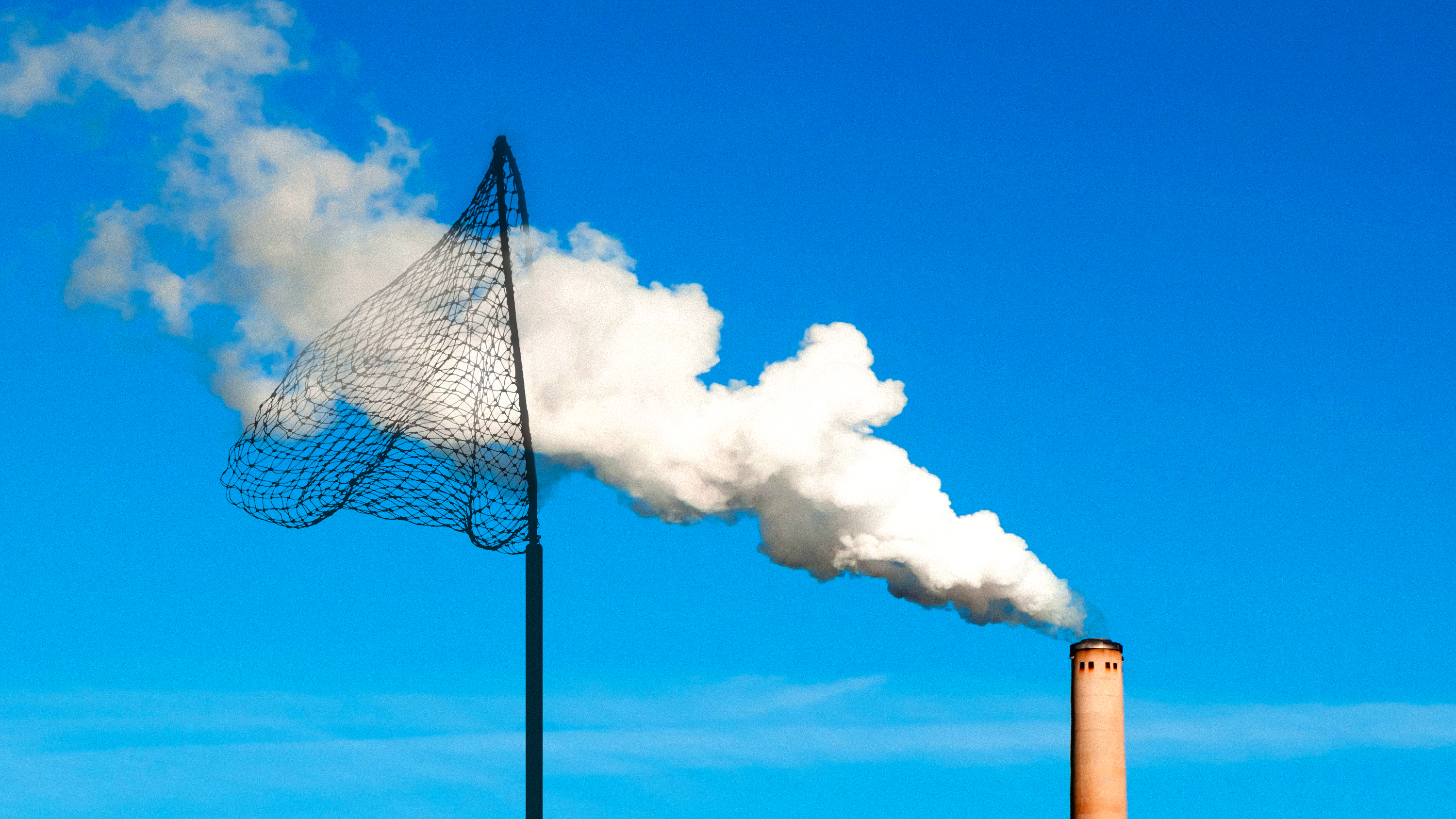 conceptual image showing a smoke stack blowing smoke into a large butterfly net