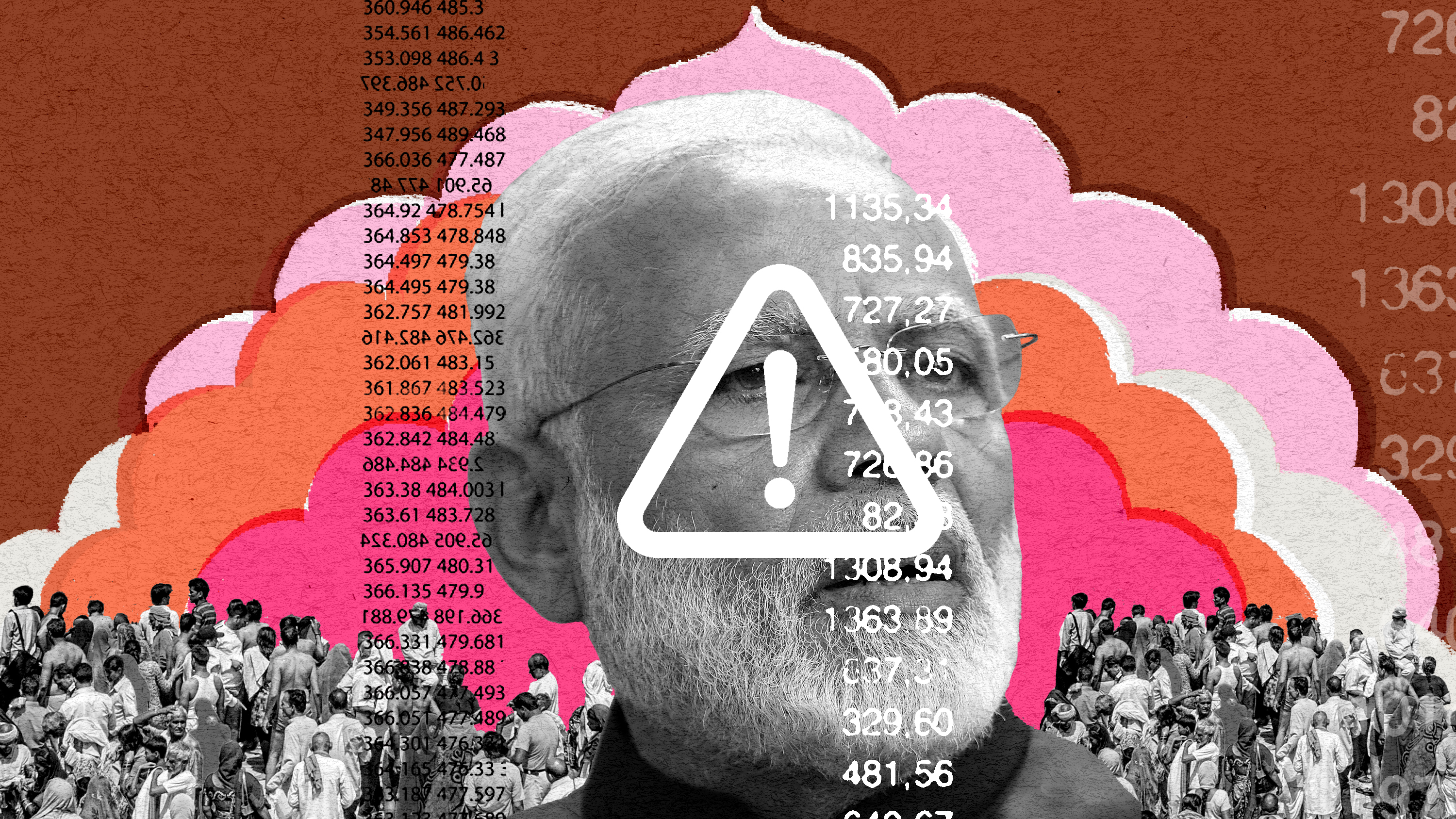 conceptual collage illustration showing crowds of people, Modi, and an error symbol