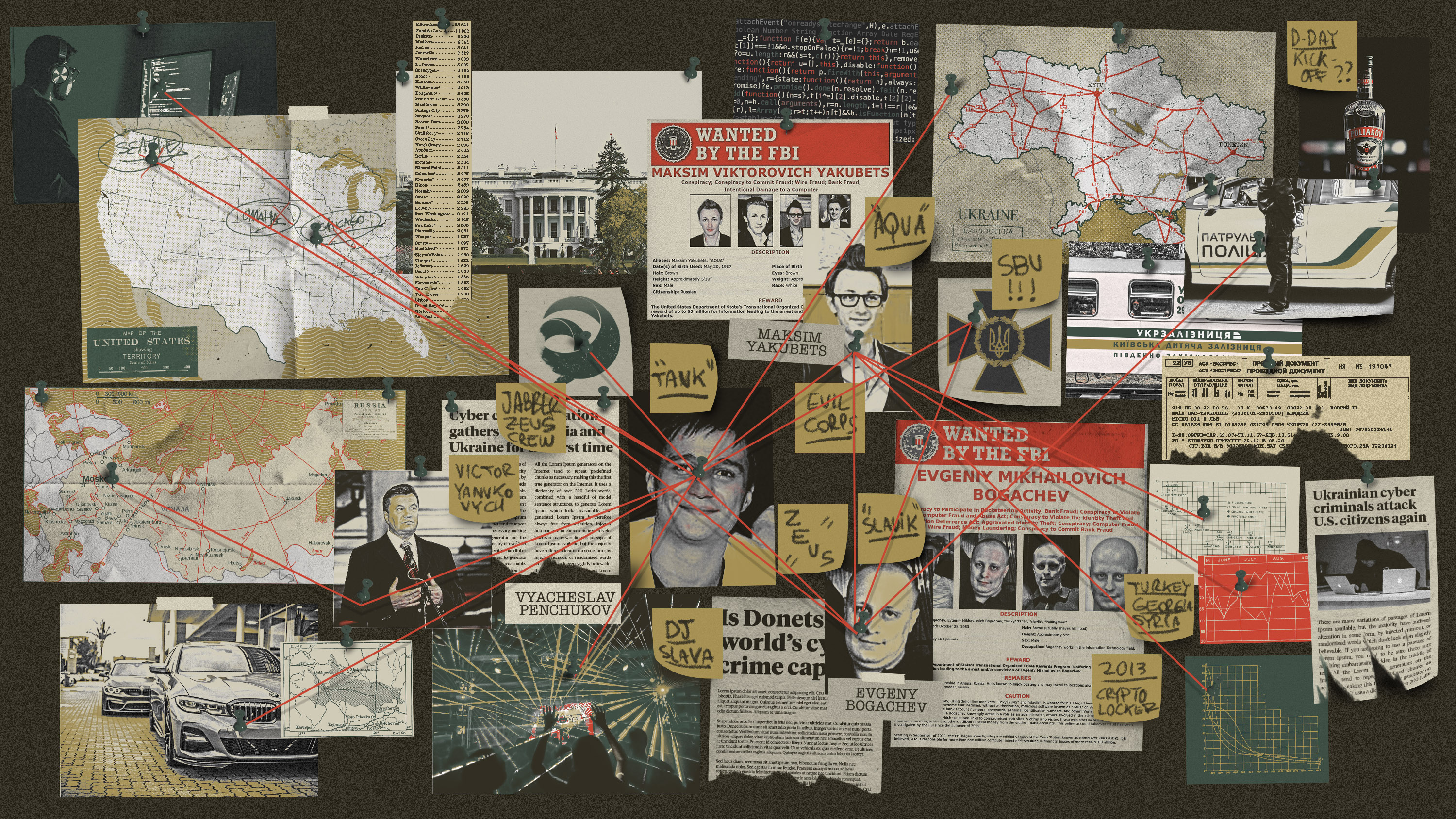 conceptual illustration showing a police evidence board with reference to various people, places, and things in the story