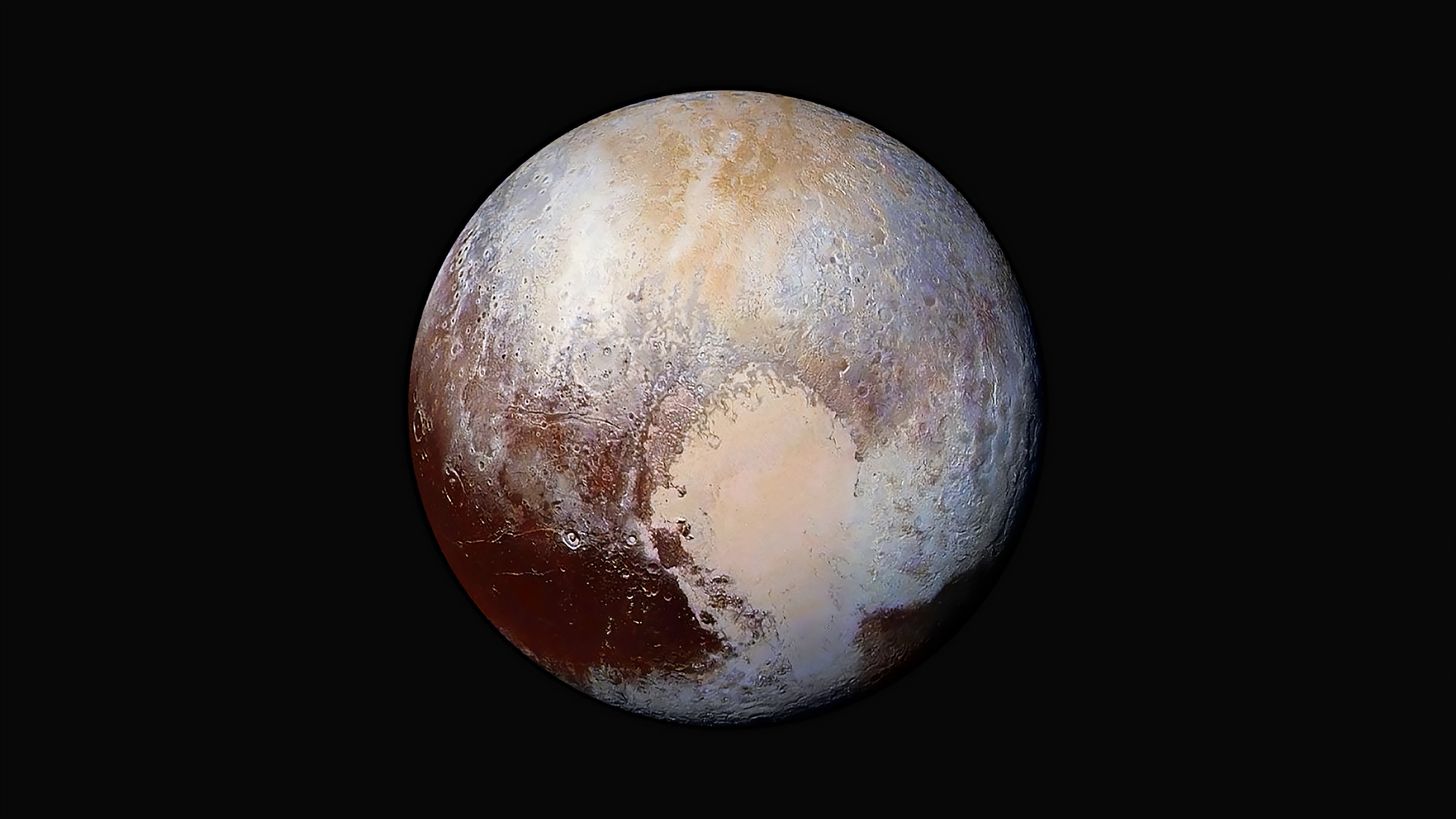enhanced color global view of Pluto