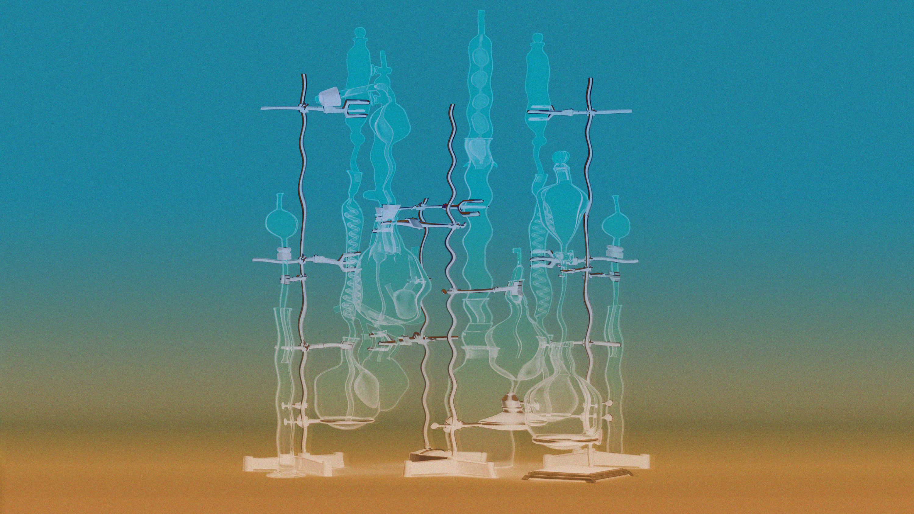 conceptual illustration showing a mirage of lab equipment