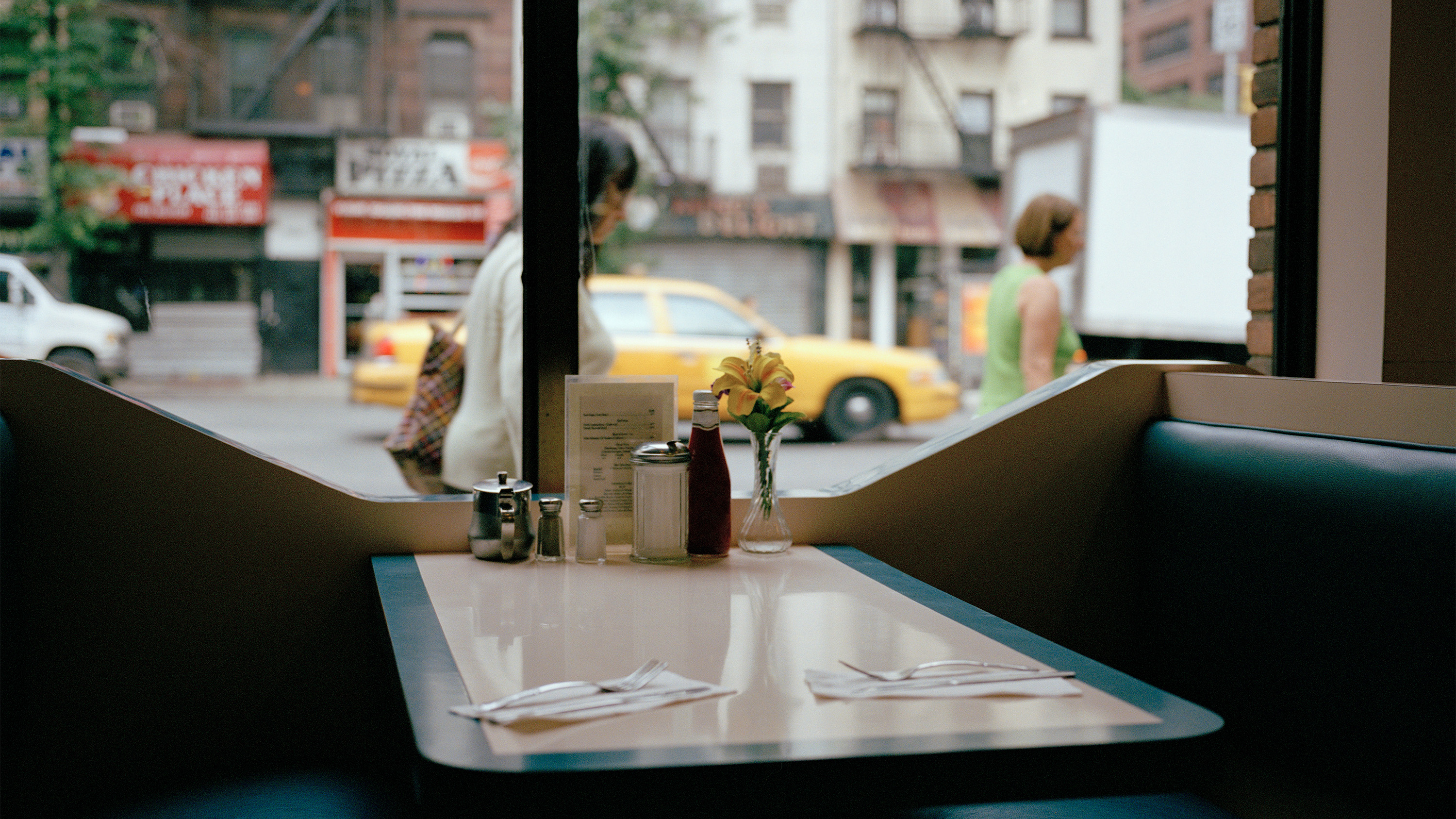 An empty booth in an NYC diner