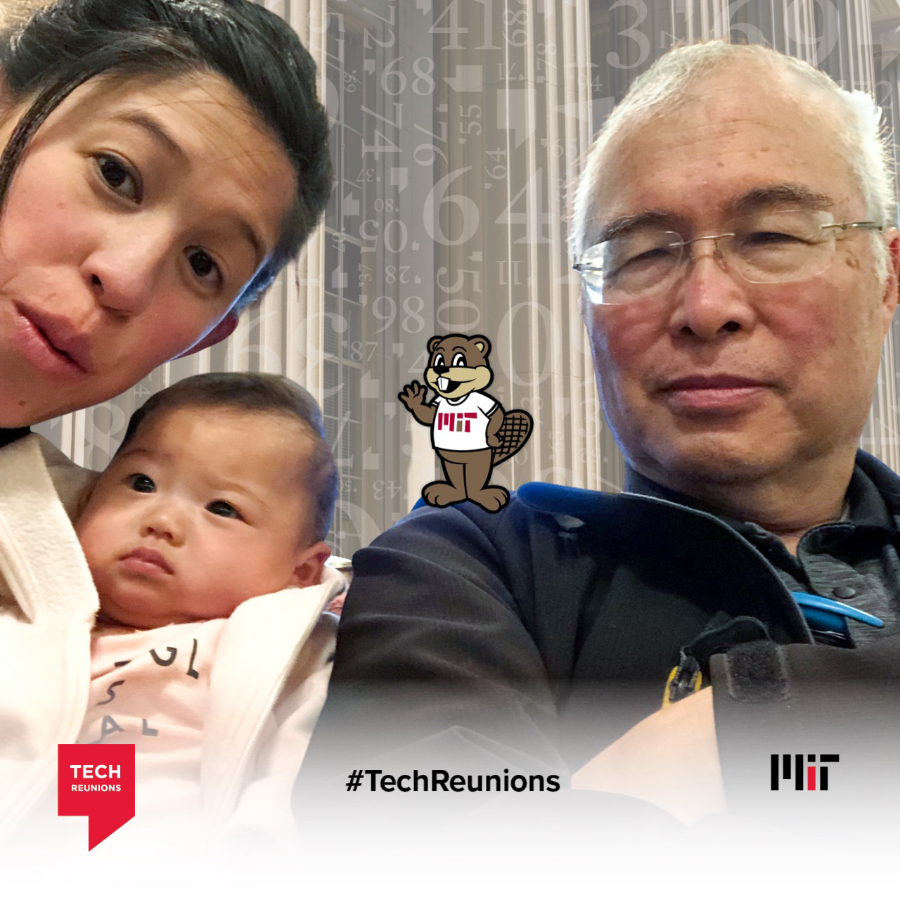 Tara Chang Pettus '08 with daughter Celeste and father Clifton Chang '71