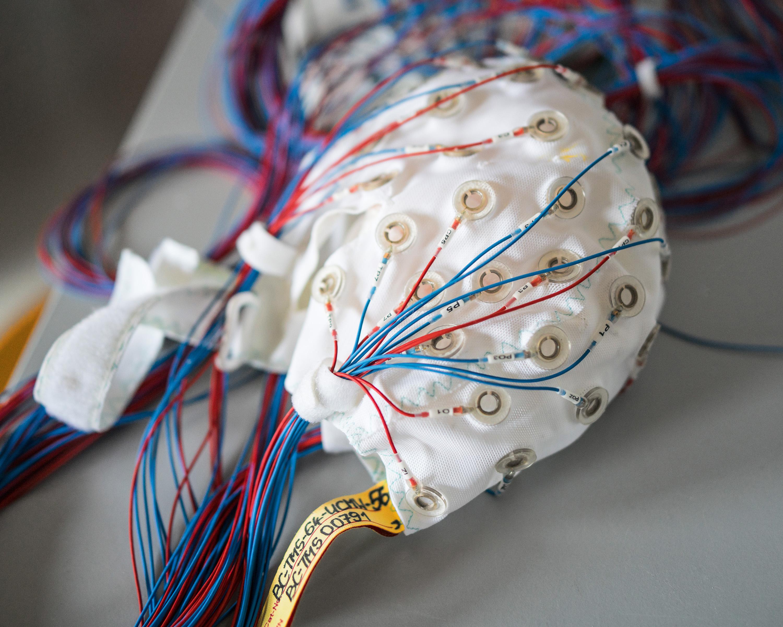 Close up of the EEG cap