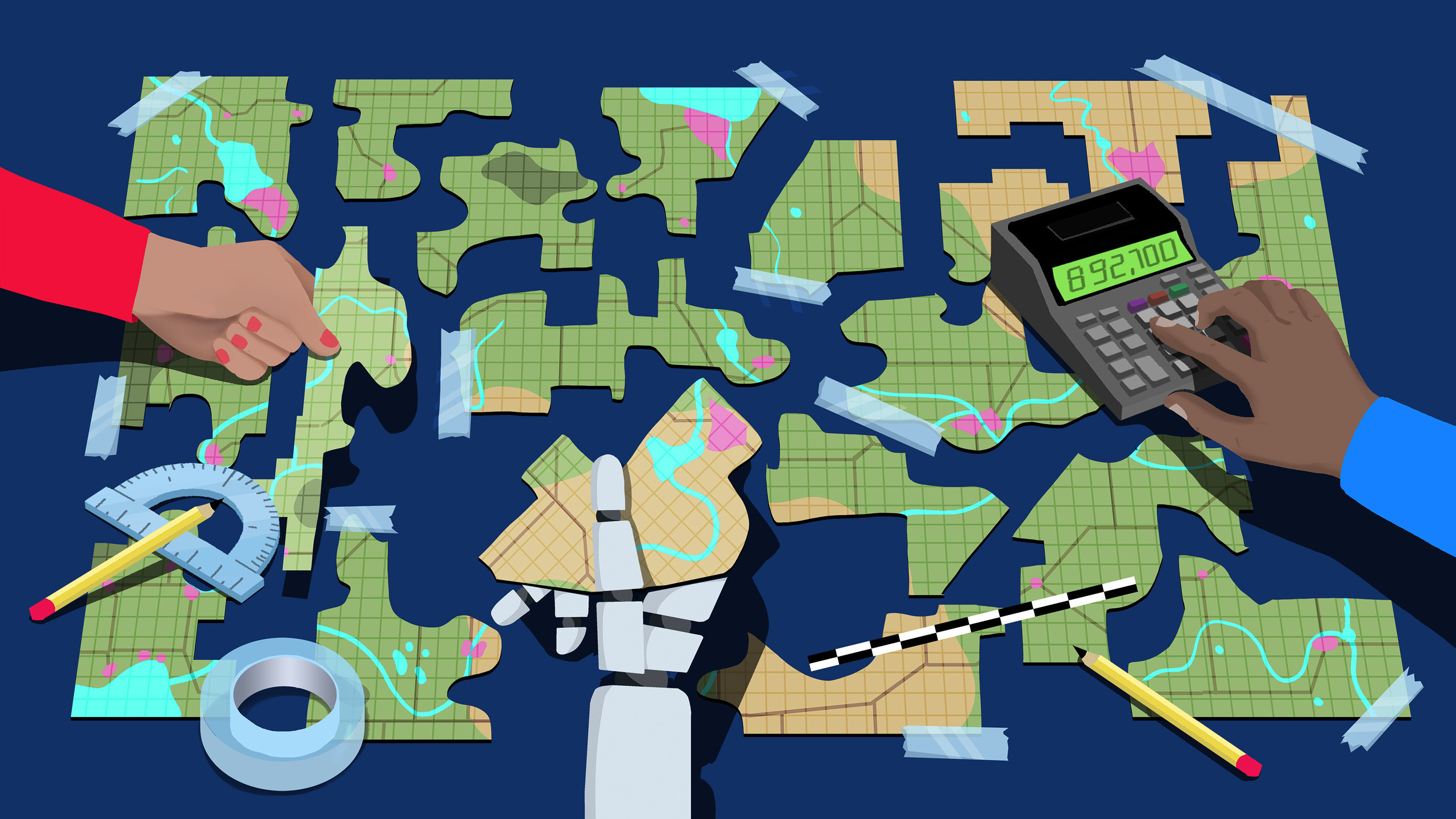 conceptual illustration of a map being cut up and taped together