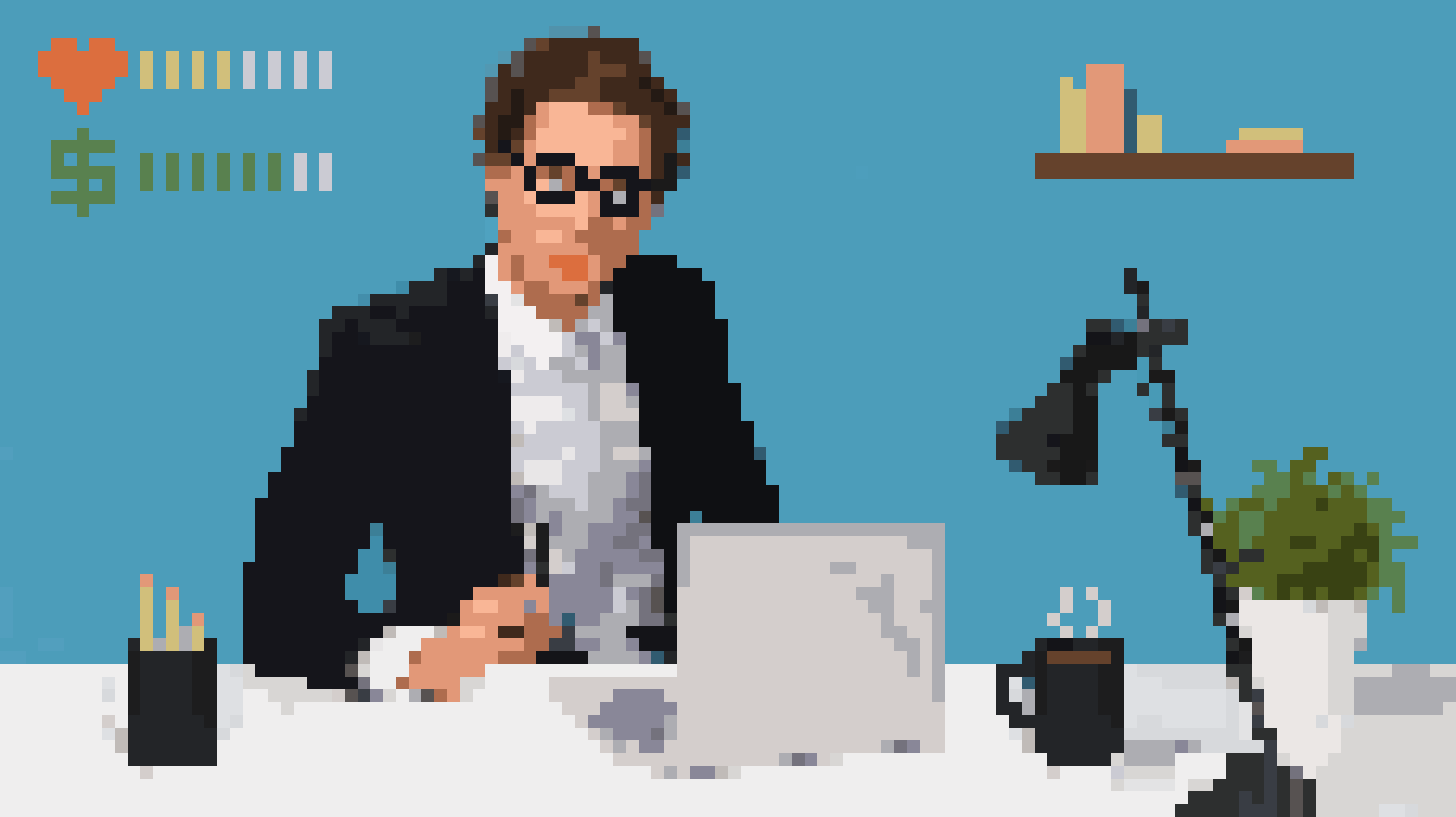 illustration of a man in a suit working at a laptop as if he is in an 8bit pixelated video game