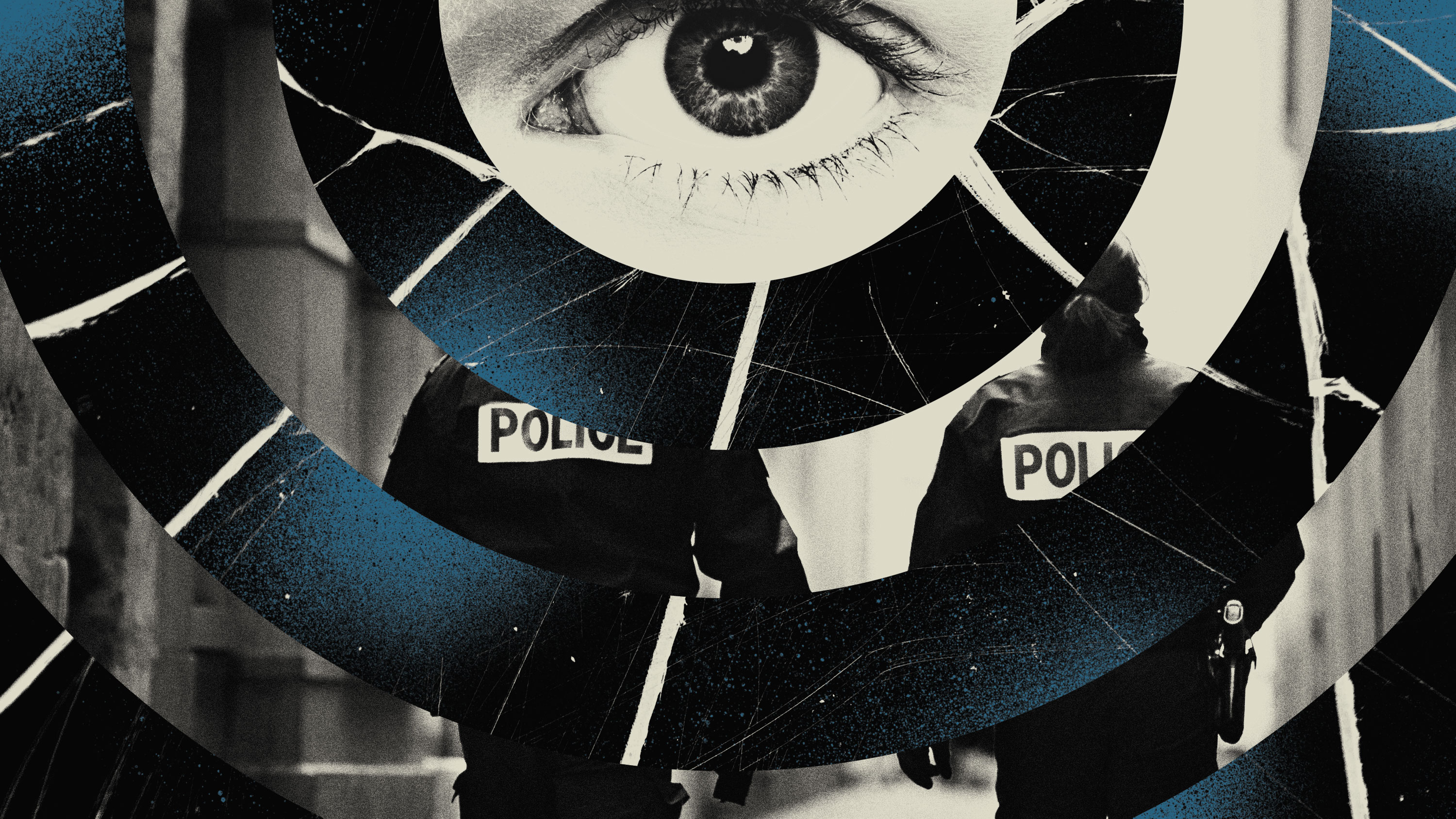 conceptual illustration showing layers of imagery that reference surveillance, policing, and domestic violence