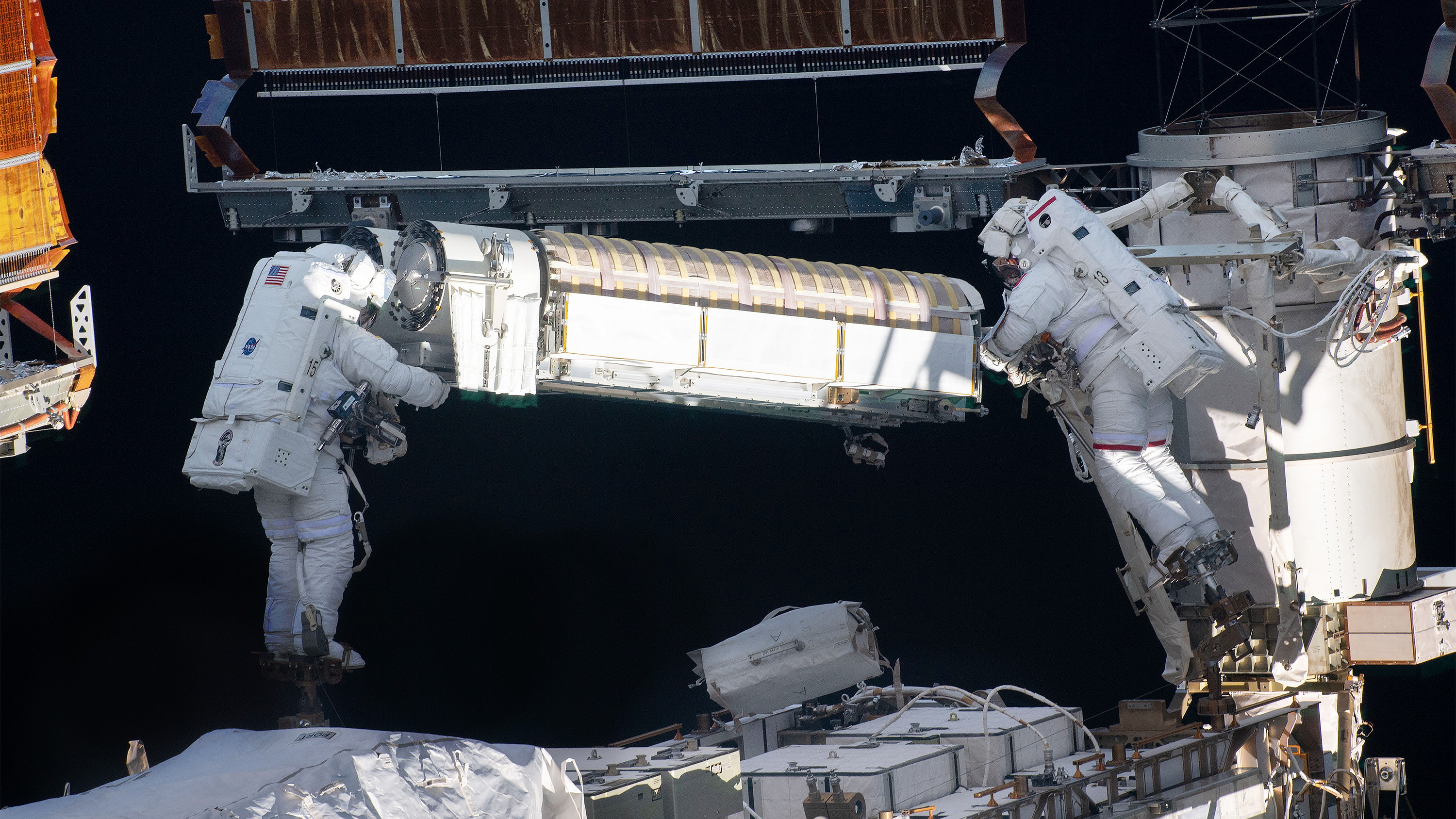 NASA and ESA astronauts work together to fix solar panels