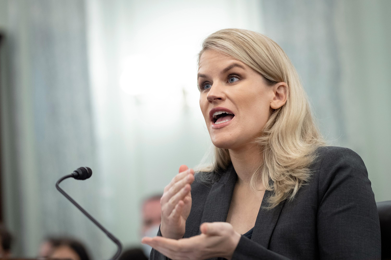Frances Haugen testifies during a Senate Committee