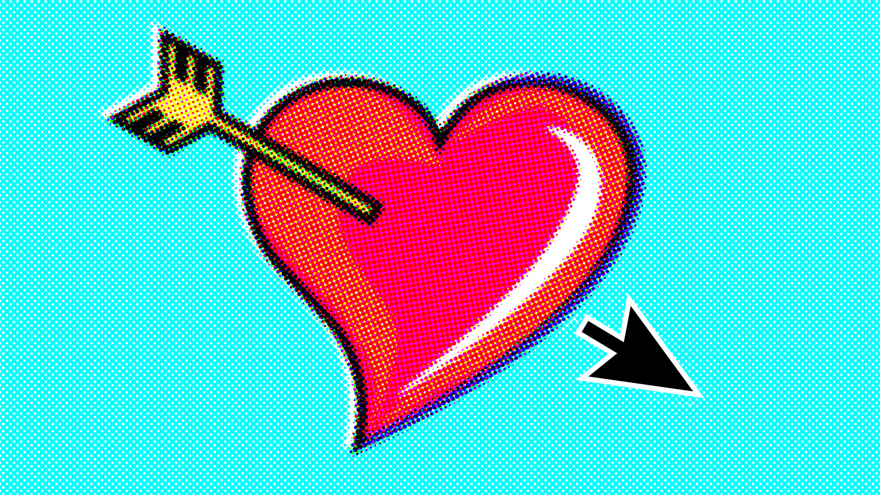conceptual illustration of a heart with an arrow going in on one side and a cursor coming out on the other
