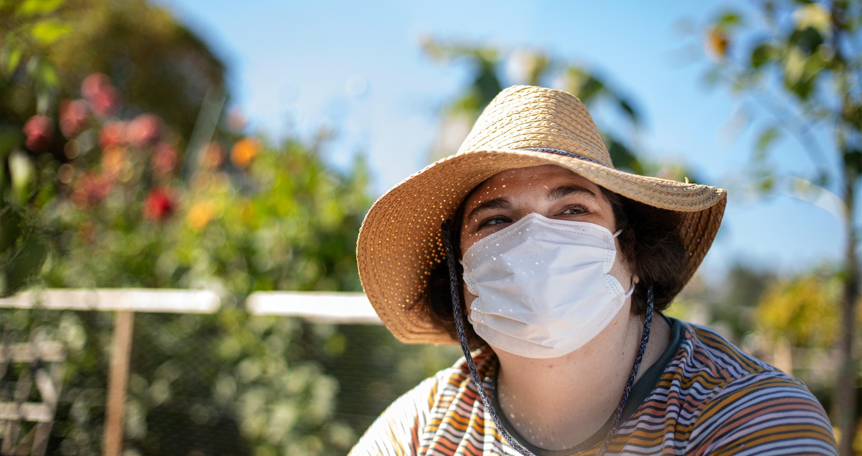Sarah works in her community garden on Saturday, September 25, 2021.